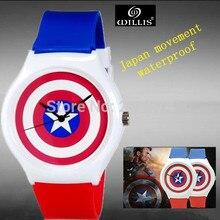 Capitán América diseño Anime reloj de La Jalea de Pulsera Mujer Reloj de cuarzo digitales Niños reloj del Estudiante del reloj relogios feminino