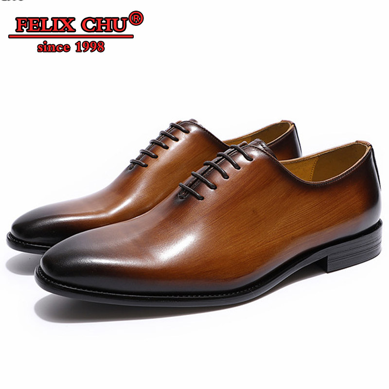 Felix Chu Classic style Men's Flat Oxford Genuine Leather Dress Shoes Brown Black Wedding Shoes Male Formal Heels Man Shoes 2019-in Formal Shoes from Shoes    1