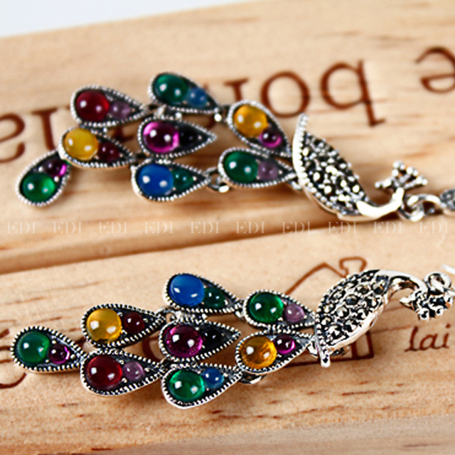 Colorful Precious Stone Long Earings Women Fine Jewelry S925 Phoenix Peacock Feather Bohemian India Ethnic Earring Jewelry