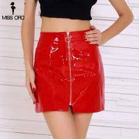 Missord 2018 Sexy Ring Zipper Decoration Latex Red Color Skirt FT8434