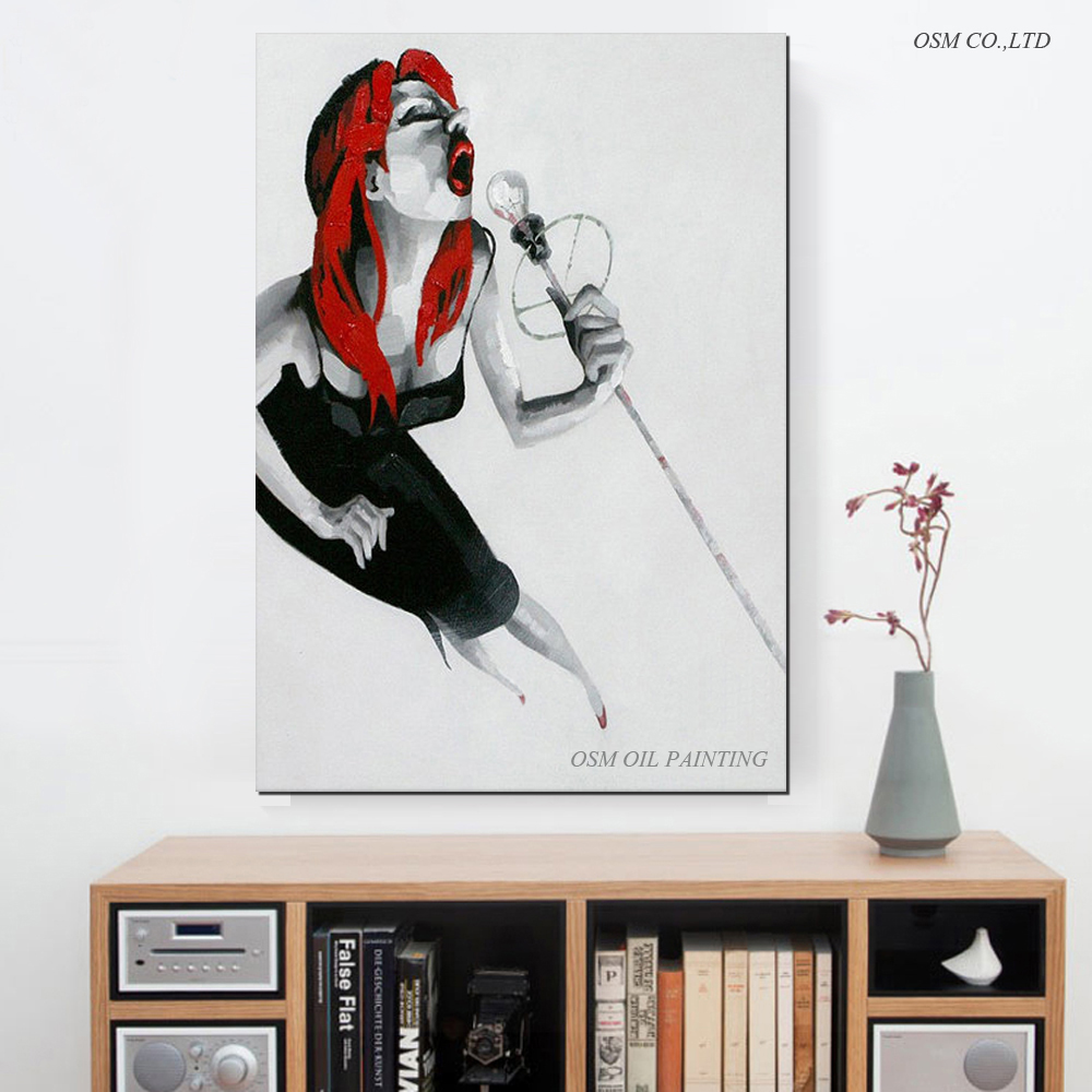 Professional Artist Hand painted High Quality Modern Abstract Singer Oil Painting On Canvas Modern Singer Decorative Painting