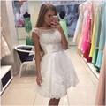 Summer 2016 White Prom Dress Short Design Beaded Cap Sleeve Ruched Waist Lace Applqiues Homecoming Graduation Gown