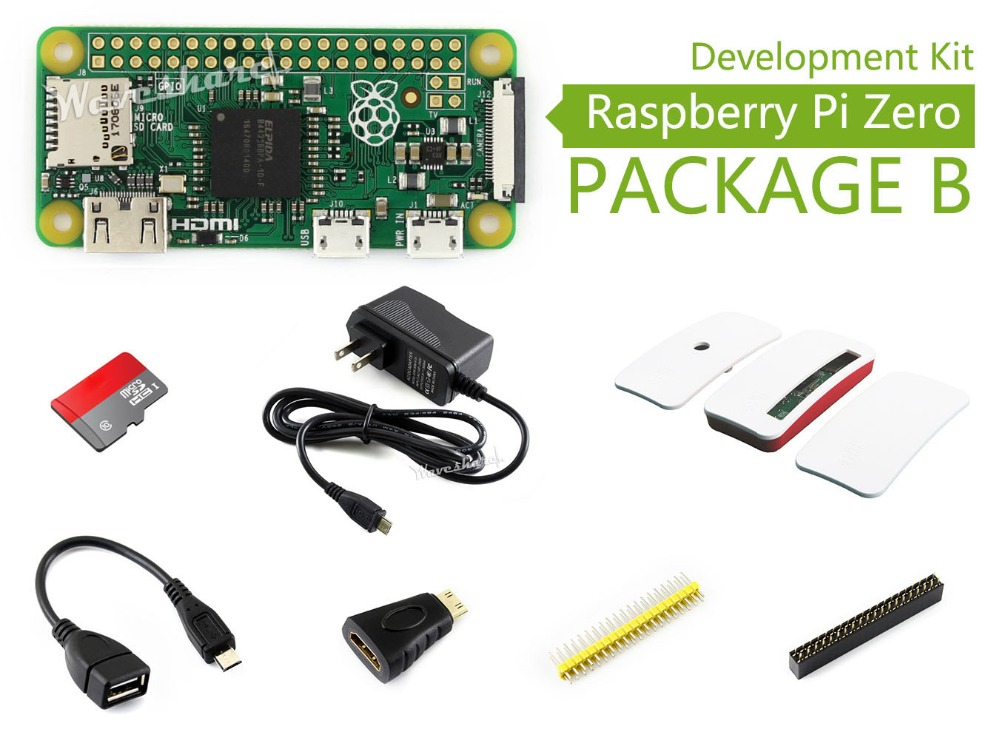 Raspberry Pi Zero Package B Basic Development Kit Micro SD Card, Power Adapter, Official Case, and Basic Components raspberry pi zero w package e basic development kit 16gb micro sd card power adapter 2 13inch e paper hat and basic components