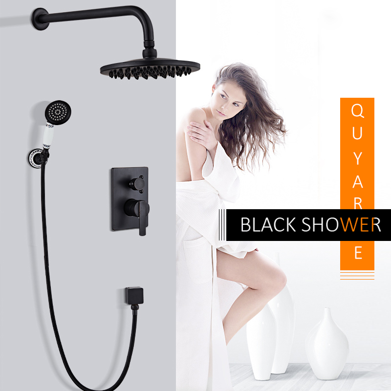 Quyanre Black Concealed Shower Faucets Set Wall Mount 8 Brass Shower Head 2-way Mixer Porcelain Handshower Bath Shower Faucet