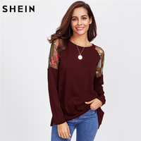 SHEIN Embroidery Women T Shirts Maroon Long Sleeve Asymmetrical Floral Embroidered Botanical Contrast Mesh Insert Tee