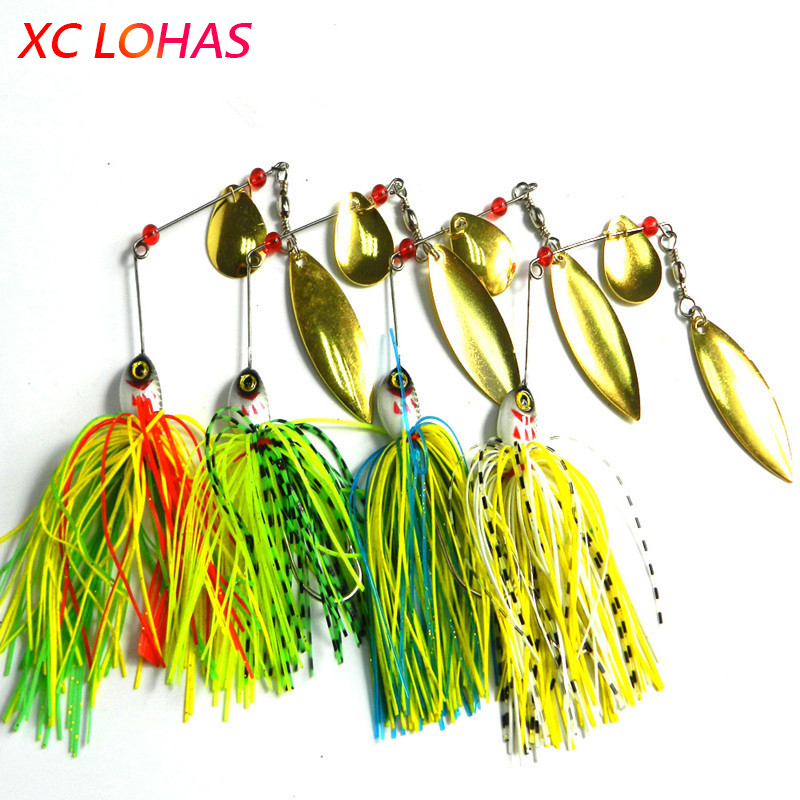 1 Piece 20.5g Super Luring Spinner Bait Double Reflective Golden Metal Spoon Buzzbait 3D Fish Eye Fishing Lure with Hook SB004 lucky john croco spoon big game mission 24гр 004