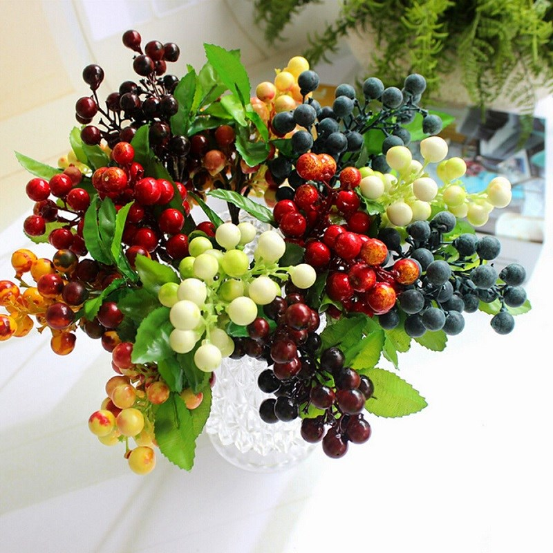New Home Table Floral Centerpiece Diy Arrangements Berry Artificial Silk Berry Flowers Leaf Craft Wedding Party Decoration