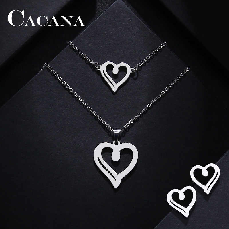 CACANA Stainless Steel Sets For Women Heart Shape Necklace Bracelet Earring Jewelry Lover's Engagement Jewelry S31