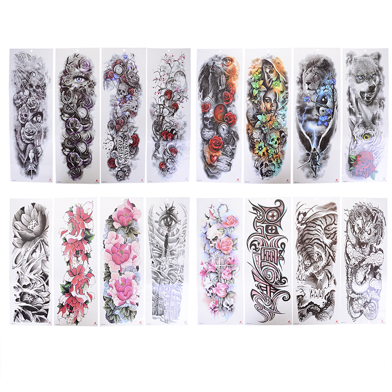 Transferable Tattoos Stickers On The Body Art Temporary Tattoo Sleeve Designs Full Arm Waterproof Tattoos For Cool Men Women