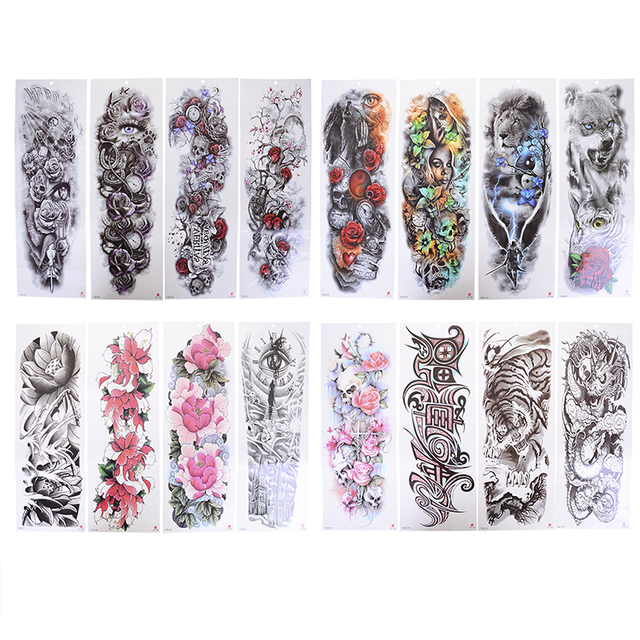 fad61cff0 Transferable Tattoos Stickers On The Body Art Temporary Tattoo Sleeve  Designs Full Arm Waterproof Tattoos For