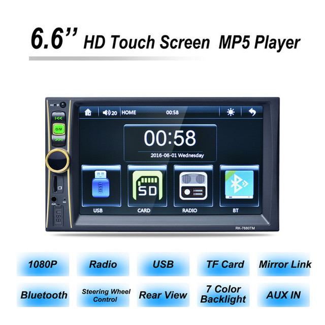 G1 Tiptop 6.6Inch Touchscreen In Dash Car 1080P Stereo Radio Mirror Link Mp5 Player Aux Car-styling Retail&Wholesale Free Ship