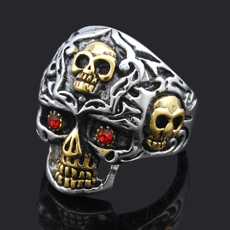 Atgo Cool Punk Style Red Crystal Eyes Skull Ring For Men