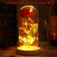 Battery Powered LED Red Silk Rose Artificial Rose String Light Desk Lamp Romantic Valentine's Day Birthday Gift Room Decoration
