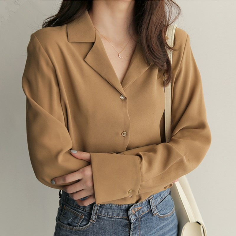 2018 Autumn Brief Women   Shirts   Notched Loose Full Sleeve Chiffon Professional Sense   Blouse     Shirt   White Blue 9873