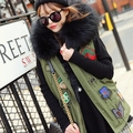 Smmoloa Winter jacket women coat street fashion Large faux fur collar hooded army green vest Female Waistcoat