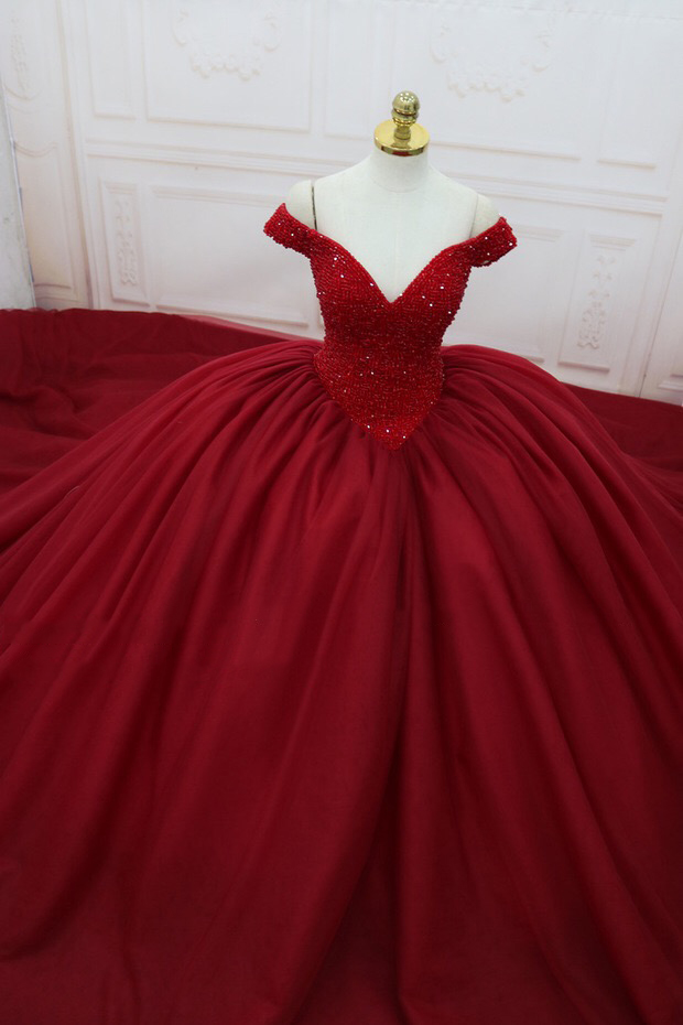 Buy Cheap Gorgeous Real Photo Burgundy Ball Gown Evening Dress V-Neck Top Beaded Princess Prom Dress Evening Gown Vestido de Fiesta ASAE34