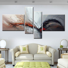 Handmade Modern abstract White gray Painting large wing birds Oil Picture Wall Designs Art 4 Piece Home Decor Set