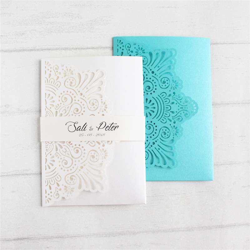 Elegant wedding card invitation marriage with glittery insert card RSVP belly band custom printing 50pcs
