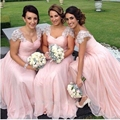 Elegant Cap Sleeve Wedding Party Dresses Light Pink Chiffon with Lace Crystal Long  Bridesmaid Dresses 2016