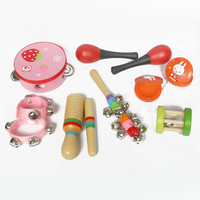 Children's early infant toys instrument combination wooden drum rattles against music set