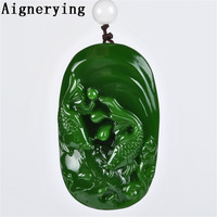Fine Jewelry Chinese Natural Green Hand carved Chinese Hetian Jade Two Fish Pendant Gift tray with Box Jewelry