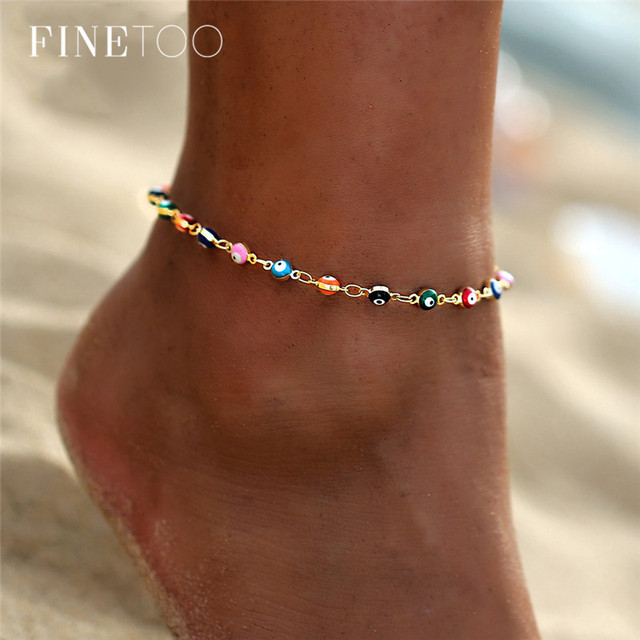 Bohemian Colorful Turkish Eyes Anklets for Women Gold Color Beads Summer Ocean Beach Bracelet