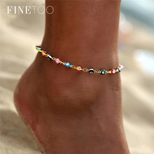 Bohemian Colorful Turkish Eyes Anklets for Women Gold Color Beads Summer Ocean Beach Ankle Bracelet Foot Leg Jewelry 2019 cheap Fine Too Zinc Alloy Show in the picture ROUND Anklet BJTS003 Fashion Ankle Bracelet Anklets for Women Bohemian Fashion Trendy Vintage Casual