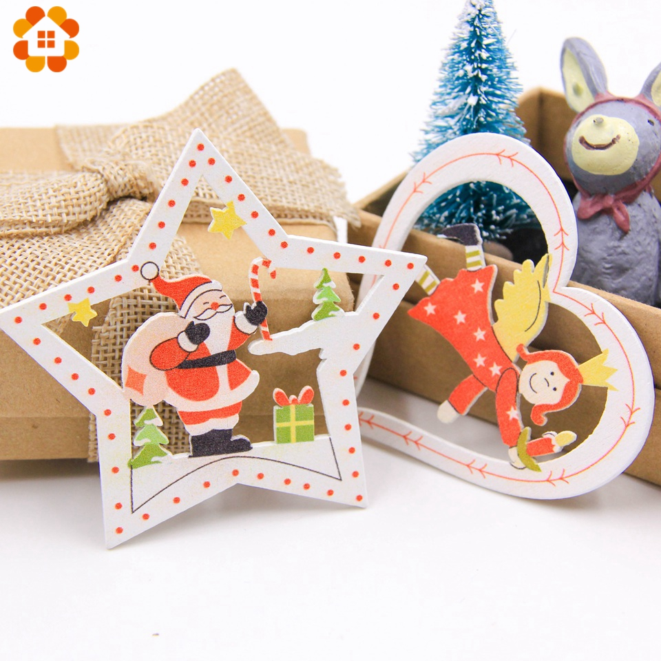 10PCS DIY Christmas Wooden Pendants Ornaments Colorful Multi Type Wood Crafts For Xmas Tree Christmas Party Hanging Decorations in Pendant Drop Ornaments from Home Garden