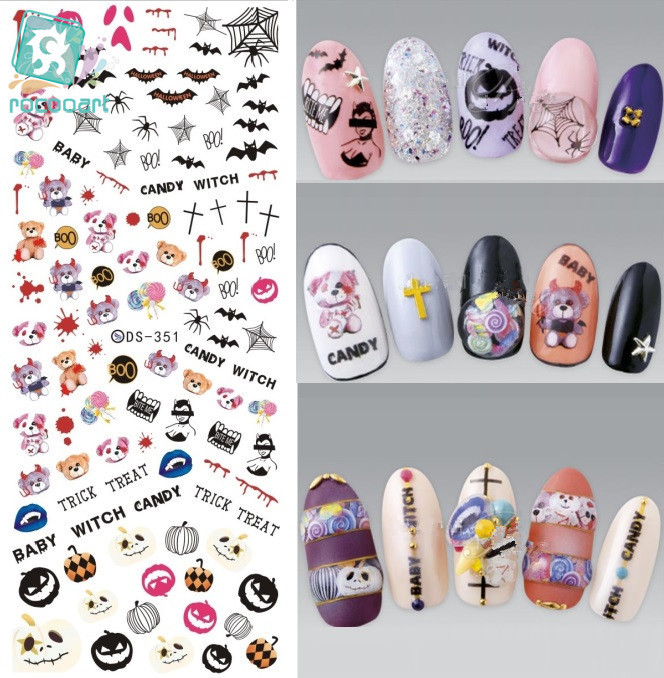Rocooart DS351 Water Transfer Nails Art Sticker Halloween Cartoon Baby Watch Bear Spider Nail Wrap Sticker Manicura stickers