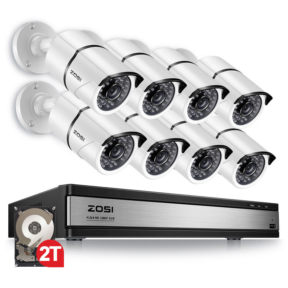 ZOSI 16CH 1080p Video Surveillance System with 8pcs 2.0MP Night Vision Outdoor/Indoor Home Security Cameras 16CH CCTV DVR Kit