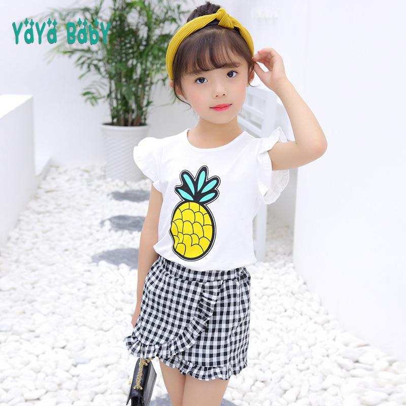 Kids Costume Girls Clothes 2018 Summer Casual Baby Children Clothing Set Pineapple Shirts Plaid Shorts 2pcs Kids Suits for Girls цена 2017