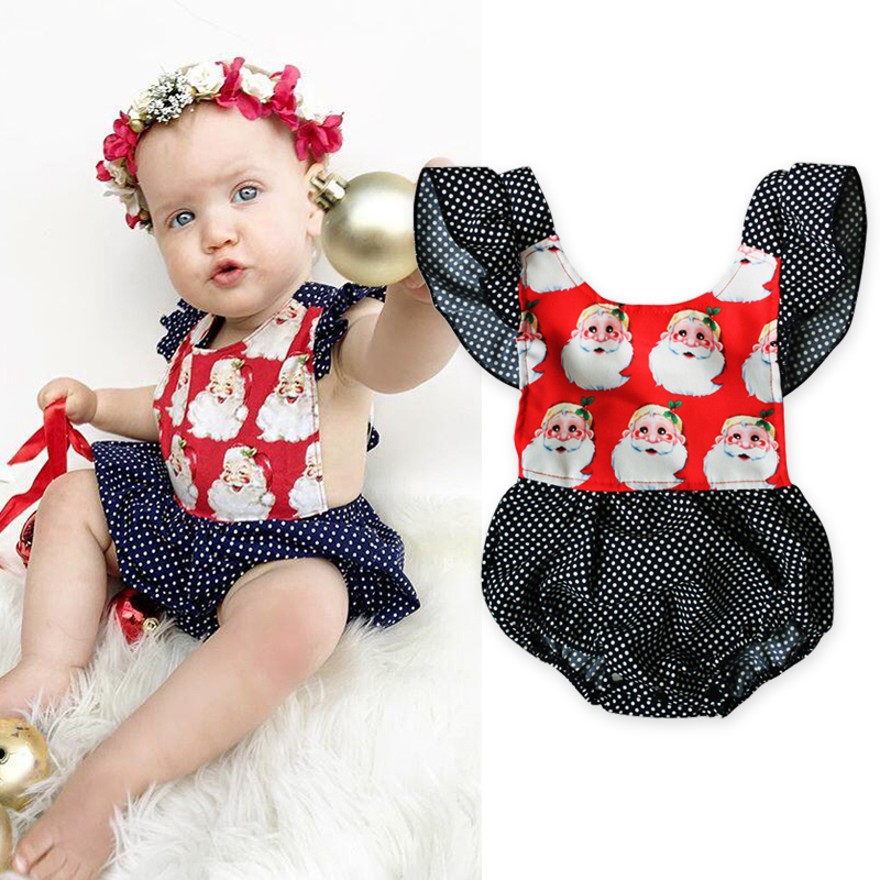 Rorychen New Brand New Cute Toddle Baby Girls Clothes Dot Christmas Grand Printed Rompers Overalls For Baby Girls Clothes