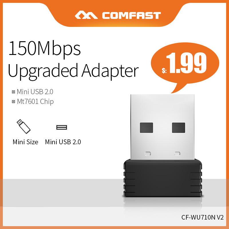 COMFAST  Mini External Wireless PC Computer Network Card 150Mbps 2.4G Wifi Dongle Antenna Support Windows For Desktop CF-WU710N