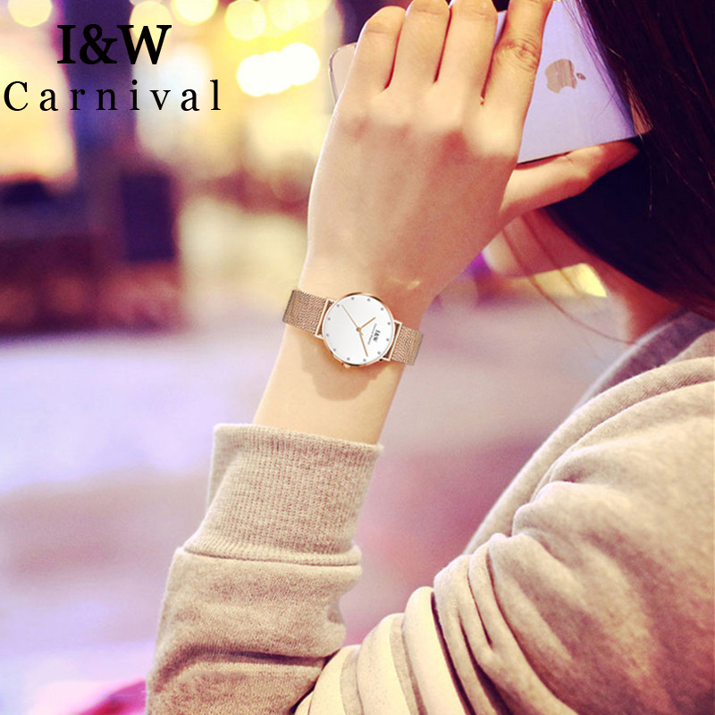 I&W Simple Quartz Watch Women Carnival Ladies Top Brand Luxury Diamond Watches Waterproof Wristwatch Gold Clock relogio feminino цена