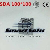 Бесплатная доставка 100 мм Диаметр 100 мм Ход Пневматический воздушный Компактный цилиндр SDA 100*100