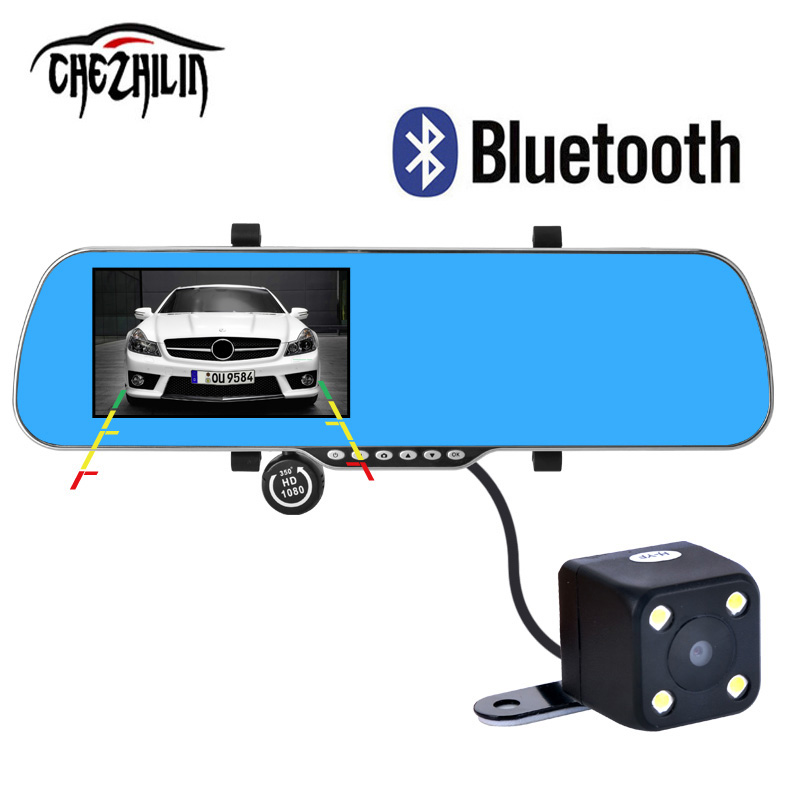 5 Car DVR GPS Navigation Bluetooth Rearview mirror Android 4 4 Dual Camera Europe navitel map