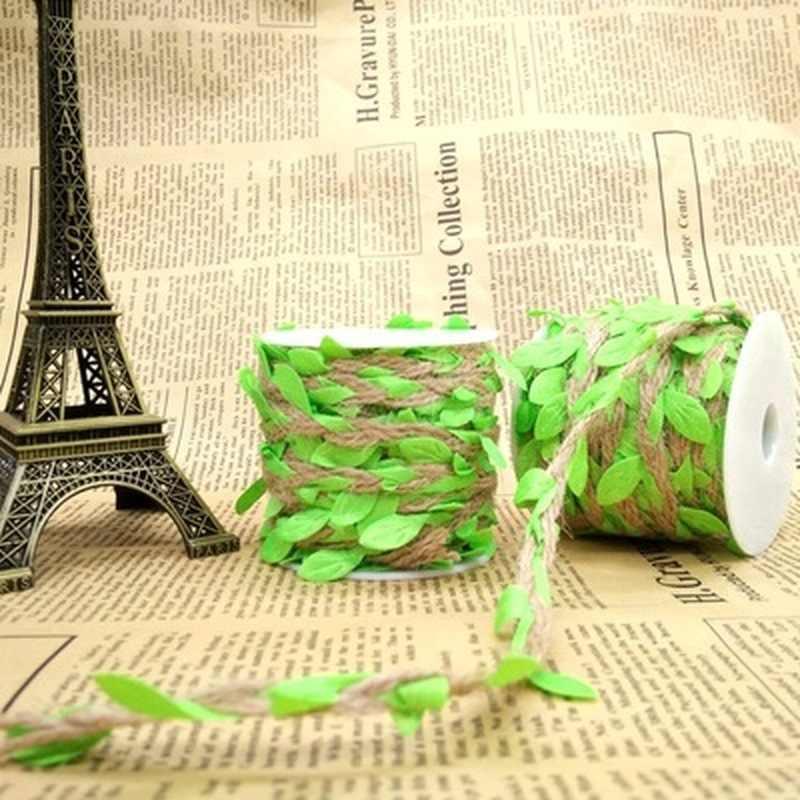 1 หลาจำลองสีเขียวใบทอผ้าเชือกกัญชาหวายของขวัญตะกร้าอีสเตอร์ตกแต่งเชือก 5 มม. อีสเตอร์กระต่าย Nest DIY วัสดุ