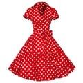 1950s Retro Audrey Hepburn Style V-Neck Swing Lapel Rockabilly Pinup Summer Dress