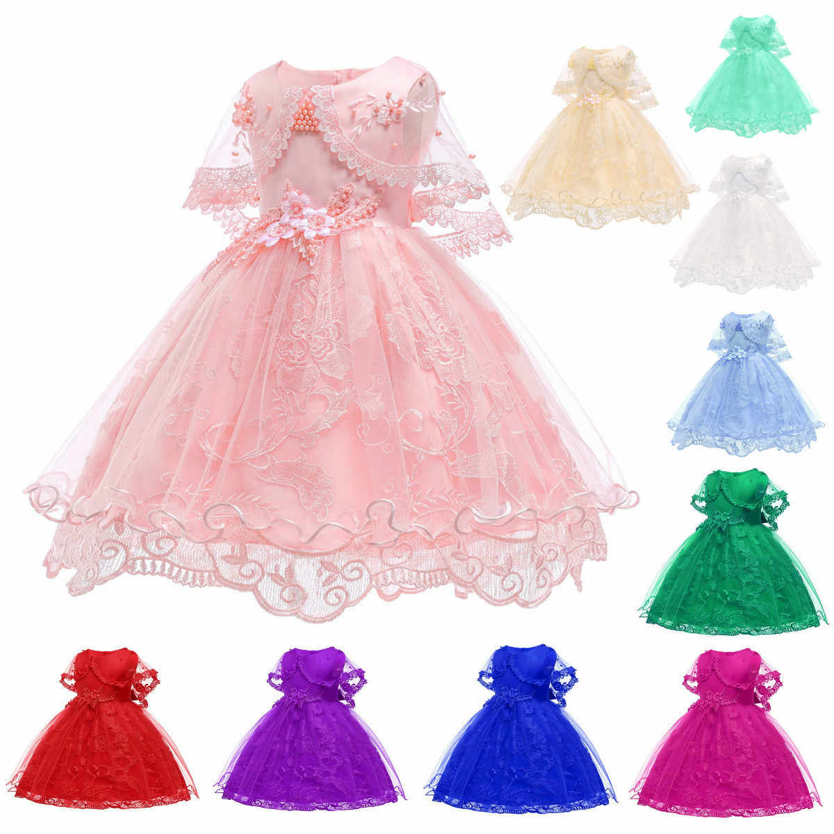 BacklakeGirls New 2-10 Year Pink 2019 Children Tulle Pretty Princess Flower Girl Dresses With Beadings And Flower For Wedding