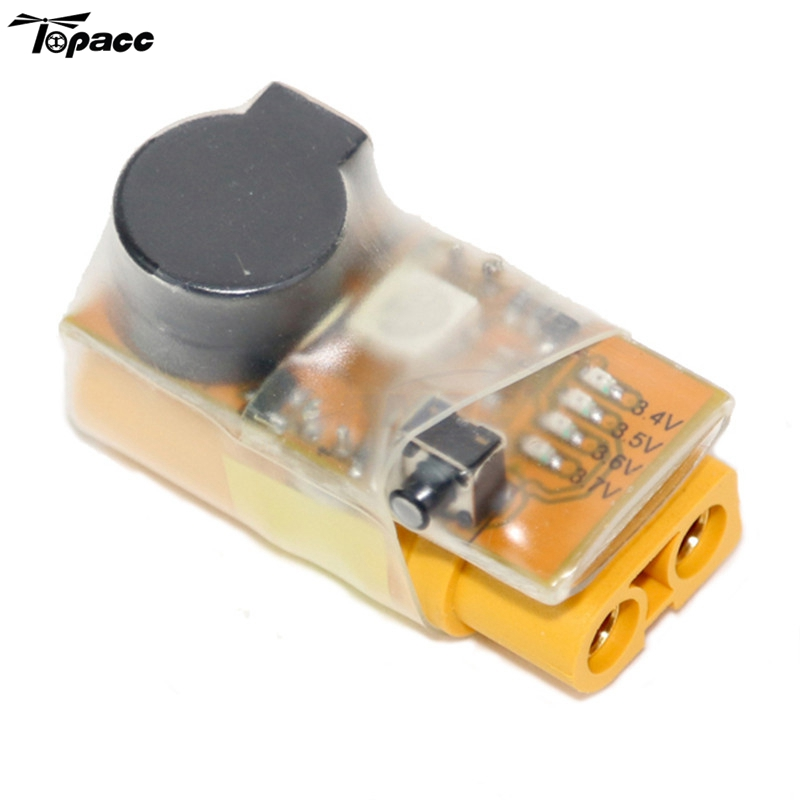 Intelligent In-Line Battery Voltage Alarm Buzzer with LED XT60 Plug Connector For 2 to 6s Lipo Battery for Charging DIY Tester image