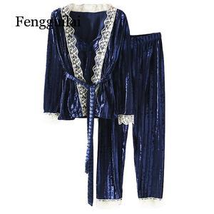 Image 5 - Nova coleção feminina veludo cordão de renda 3 peça conjunto pamaja senhoras ternos cardigan macio + camisola magro calças compridas conjuntos dormir