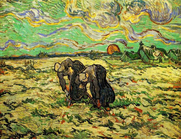 Decorative modern painting Two Peasant Women Digging in Field with Snow by Van Gogh painted canvas art gift for home No Frame