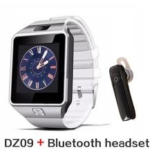 Soporte multi idiomas bluetooth headset + smart watch dz09 whatsapp para android iphone pk u8 reloj smartwatch teléfono
