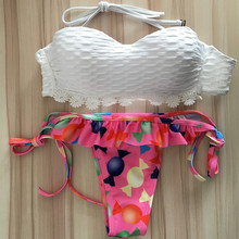 2017 Red Candy Print Biquini Sexy Push Up Swimwear Brazilian Bikini Swimsuit Sweety Girl Bathing Suit Beachwear Maillot De Bain