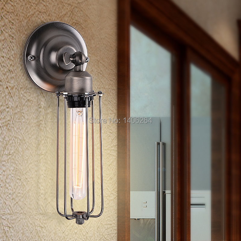 ФОТО Nordic Vintage Style Industrial Edison Tube Cage Wall Light Sconce Lamp For Cafe Bar Hall Coffee Shop Club Store Restaurant