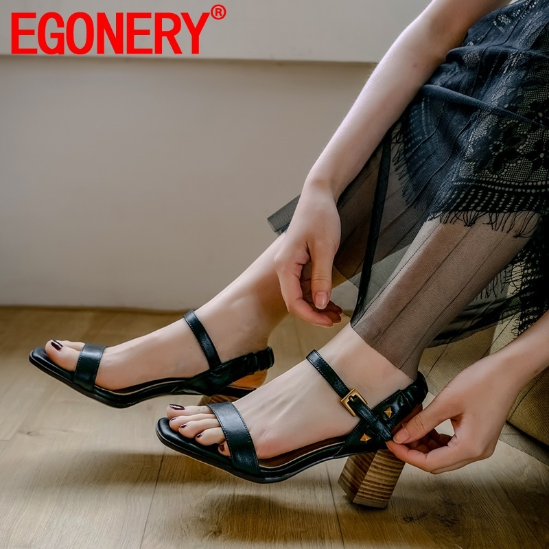 EGONERY woman shoes summer new fashion sexy high quality genuine leather open toe woman sandals outside