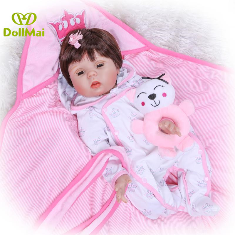 Reborn baby girl dolls 2255cm soft silicone reborn baby doll can blink eyes cloth body real newborn bebe gift reborn doll Reborn baby girl dolls 2255cm soft silicone reborn baby doll can blink eyes cloth body real newborn bebe gift reborn doll
