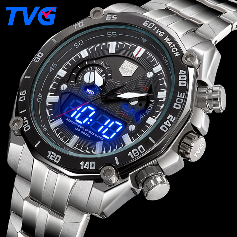 цены  TVG Mens Watches Top Brand Luxury Quartz Clock Digital LED Watch Military Sport Watch Male Wristwatch Steel Relogio Masculino