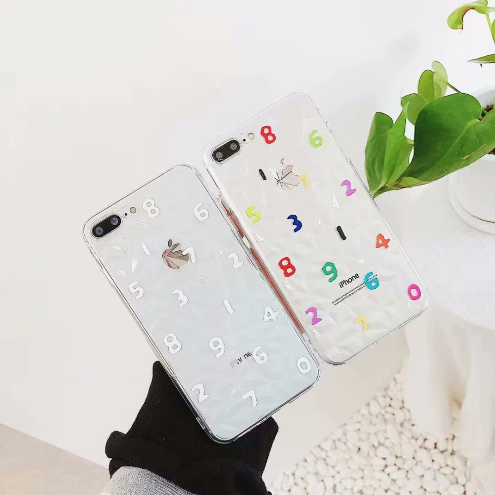 iboann cute cartoon simple number Glossy diamond TPU soft gel silicone clear case for iphone 6 6s 6 s 7 8 plus X cases
