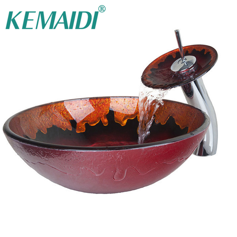 KEMAIDI Bathroom Countertop Bathroom Sink Clear Glass Wash Basin Tempered Glass Vessel Sink With Faucet Set fashion style round hand painted artistic victory vessel wash basin tempered glass sink bathroom basin